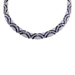 N0003 18KW Sapphire and Diamond Necklace