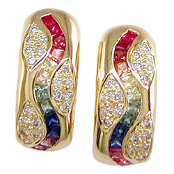 E0052 18KT Rainbow Sapphire and Diamond Earrings