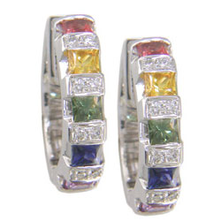 E0077 18KW Rainbow Sapphire & Diamond Earrings