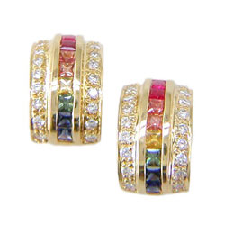 E0078 18KT Rainbow Sapphire and Diamond Earrings