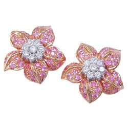 E0079 18KR Pink Sapphire & Diamond Earrings