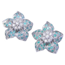 E0079 18KW Brazilian Paraiba and Diamond Earrings