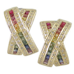 E0080 18KT Rainbow Sapphire and Diamond Earrings