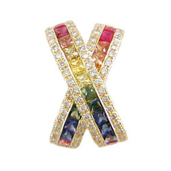 P0080 18KT Rainbow Sapphire and Diamond Pendant