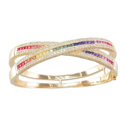 B0080 18KT Rainbow Sapphire and Diamond Bangle