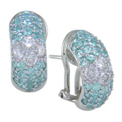 E0089 18KW Brazilian Paraiba and Diamond Earrings