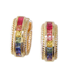 E0092 18KT Rainbow Sapphire Earrings