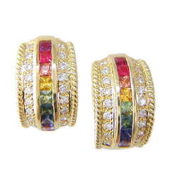 E0093 18KT Rainbow Sapphire and Diamond Earrings