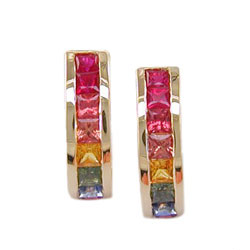 E0108 18KT Rainbow Sapphire Earrings