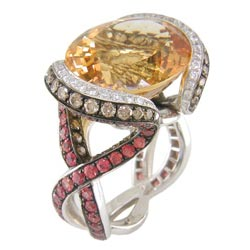 L1083 18KW Citrine, Orange Sapphire, Champagne & White Diamond R