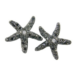 E0109 18KW Black Diamond Starfish Earrings