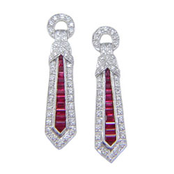 E0117 18KW Ruby and Diamond Earrings