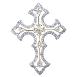 P1179 18KT/KW Yellow Diamond and Diamond Cross Pendant