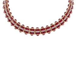 N0118 18KT Ruby and Diamond Necklace
