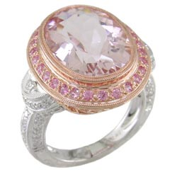 L1210 18KW/KR Morganite, Pink Sapphire, and Diamond Ring