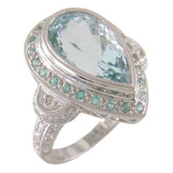 L1210 18KW Aquamarine, Paraiba, and Diamond Ring