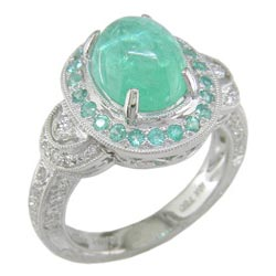 L1210 18KW Mozambique Paraiba Tourmaline and Diamond Ring