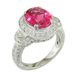 L1210 18KW Rubellite and Diamond Ring