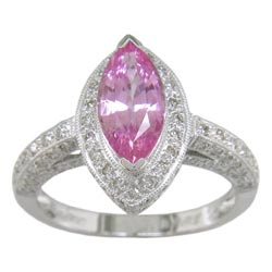 L1225 18KW Pink Sapphire and Diamond Ring