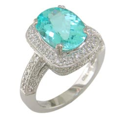 L1225 18KW Mozambique Paraiba and Diamond Ring