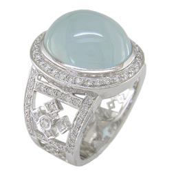 L1231 18KW Aquamarine and Diamond Ring