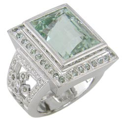 L1231 18KW Chrys O'Beryl, Green Sapphire, and Diamond Ring