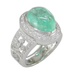 L1231 18KW Mozambique Paraiba and Diamond Ring