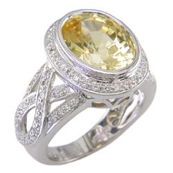 L1244 18KW White Gold Yellow Sapphire and Diamond Ring