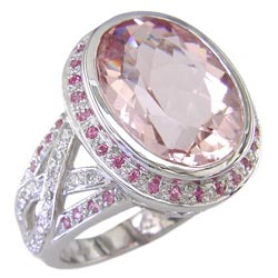 L1244 18KW Morganite, Pink Sapphire, and Diamond Ring