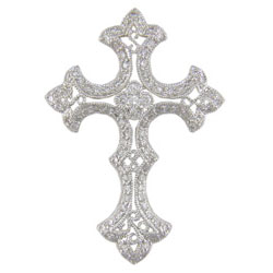 P1247 18KW Diamond Cross Pendant