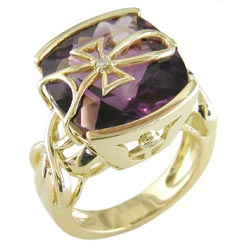 L1333 18KT Amethyst and Diamond Ring