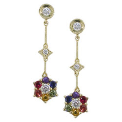 E1340 18KT Rainbow Sapphire and Diamond Earrings
