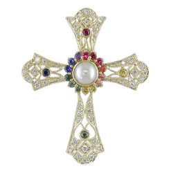 P1346 18KT Pearl, Rainbow Sapphire, and Diamond Cross Pendant