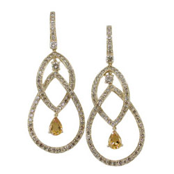 E1361 18KT Citrine and Champagne Diamond Earrings