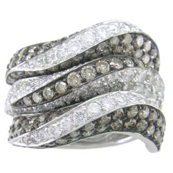 L1362 18KW Champagne and White Diamond Ring
