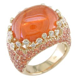L1364 18KT Orange Garnet, Orange Sapphire, and Diamond Ring