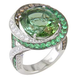 L1366 18KW Tourmaline, Tsavorite, Champagne/White Diamond Ring