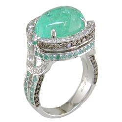 L1367 18KW Mozambique Paraiba, Champagne/White Diamond Ring