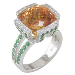L1384 18KW Citrine, Tsavorite, and Diamond Ring