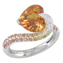 L1386 18KW Citrine, Orange Sapphire, and Diamond Ring