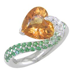 L1386 18KW Citrine, Tsavorite, and Diamond Ring