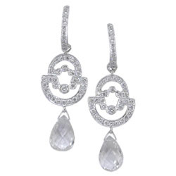 E1429 18KW White Sapphire & Diamond Earrings