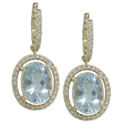 E1434 18KT Aquamarine & Diamond Earrings