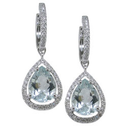 E1434 18KW Aquamarine & Diamond Earrings