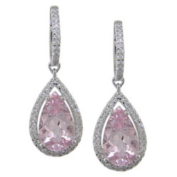 E1434 18KW Morganite & Diamond Earrings
