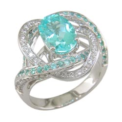 L1525 18KT Mozambique Paraiba and Diamond Ring