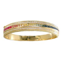 B0155 18KT Rainbow Sapphire and Diamond Bangle