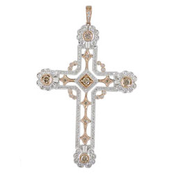 P1567 18KW/KR Champagne & White Diamond Cross Pendant