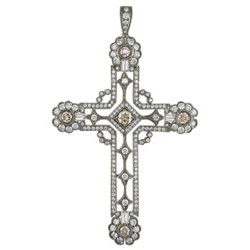 P1567 18KW Champagne and White Diamond Cross Pendant