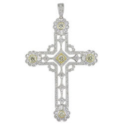 P1567 18KW/KT Yellow & White Diamond Cross Pendant